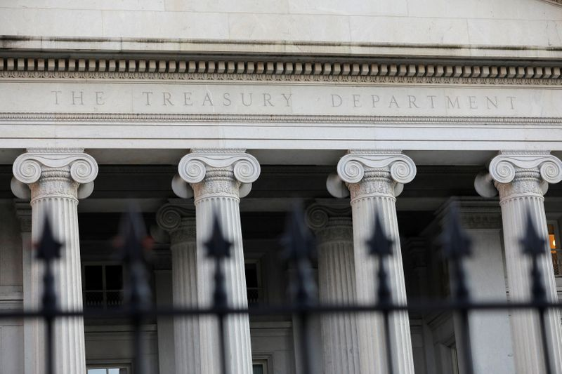 © Reuters. The United States Department of the Treasury is seen in Washington, D.C.
