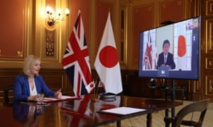 Liz Truss holds a video conference call with Japan's foreign minister, Toshimitsu Motegi.