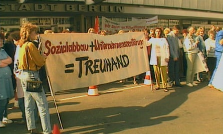 Demonstrations against Treuhand, as seen in the documentary.