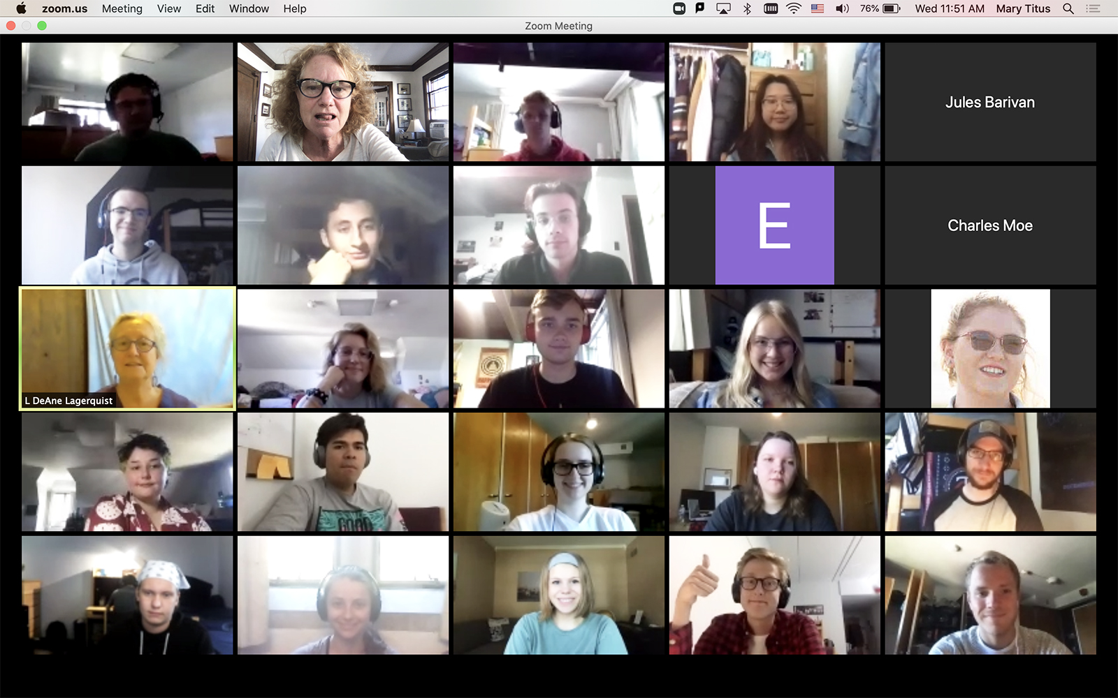 The American Conversations second-year class, led by Mary Titus and DeAne Lagerquist, gathers on Zoom this year.