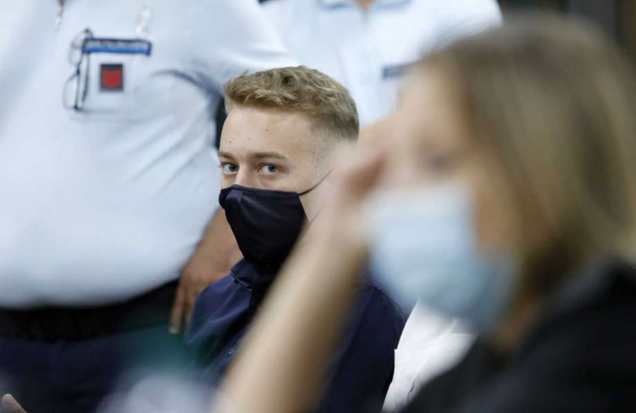 Finnegan Lee Elder, from California, looks on during a break in his trial where he and his friend Gabriel Natale-Hjorth are accused of slaying a plainclothes Carabinieri officer while on vacation in Italy last summer, in Rome, Wednesday, Sept. 16, 2020. (Remo Casilli/Pool Photo via AP) Photo: Remo Casilli, AP / Reuters pool