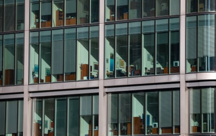 Empty offices in Canary Wharf, London, last week