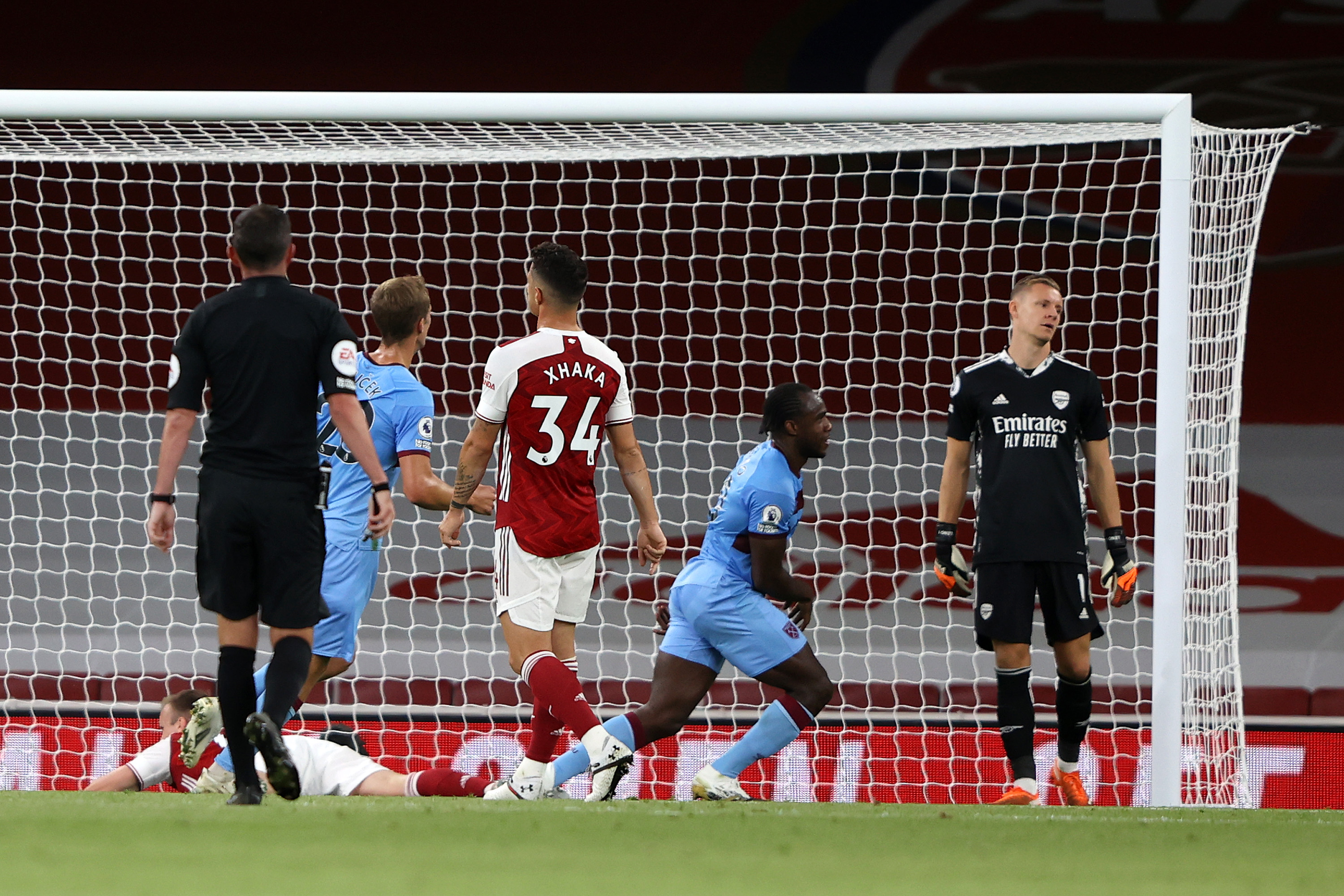 Michail Antonio equalised for West Ham on the cusp of half-time