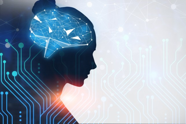 Woman profile with brain hologram over white and blue background with circuits interface. Artificial intelligence concept. Double exposure mock up