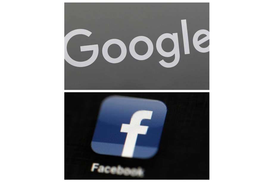 FILE - This combination of file photos shows a Google sign and the Facebook app. Global digital platforms The author of proposed Australian laws to make Facebook and Google pay for journalism said Thursday, Sept. 17, 2020, in Australia, his draft legislation will be altered to allay some of the digital giants' concerns, but remain fundamentally unchanged. Photo: File, AP / Copyright 2018 The Associated Press. All rights reserved.