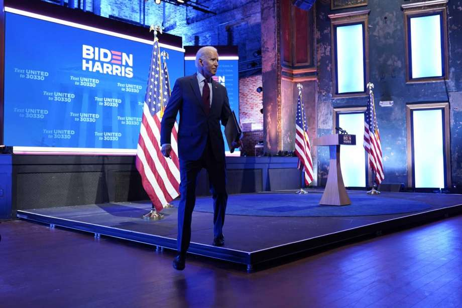 Democratic presidential candidate former Vice President Joe Biden walks off stage after giving a speech on the Supreme Court at The Queen Theater, Sunday, Sept. 27, 2020, in Wilmington, Del. Photo: Andrew Harnik, AP / Copyright 2020 The Associated Press. All rights reserved