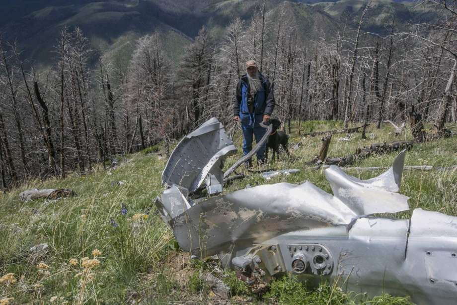 """FILE - This June 2016, file photo shows wreckage from a U.S. Air Force that bomber crashed on Emigrant Peak in southwestern Montana on July 23, 1962, killing four men during a training run. The wreckage still remains on a remote section of the peak. Emigrant, Montana resident Bryan Wells, has succeeded in his efforts to create a memorial for the men who died. The U.S. House of Representatives on Sept. 21, 2020, passed a bill naming the crash site as """"B-47 Ridge."""" The U.S. Senate has already passed the bill and it is awaiting the signature of President Donald Trump.(Adrian Sanchez-Gonzalez/Bozeman Daily Chronicle via AP, FILE) Photo: Adrian Sanchez-Gonzalez, AP / Bozeman Daily Chronicle"""