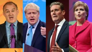 (L-R) Sir Ed Davey, Boris Johnson, Sir Keir Starmer, Nicola Sturgeon