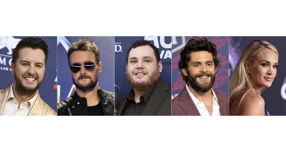This combination photo shows, from left, Luke Bryan, Eric Church, Luke Combs, Thomas Rhett and Carrie Underwood, nominees for entertainer of the year at the 55th ACM Awards. Photo: AP / AP