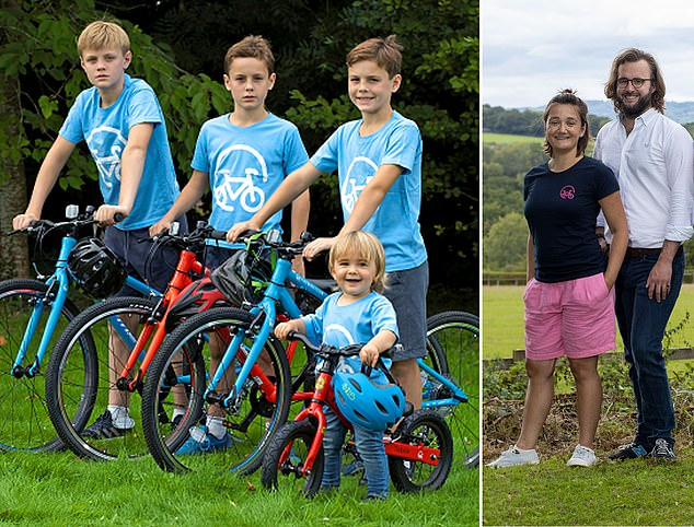 Riding high: Alexandra Rico-Lloyd and James Symes, far right, and their children on the Bike Club's rental bikes