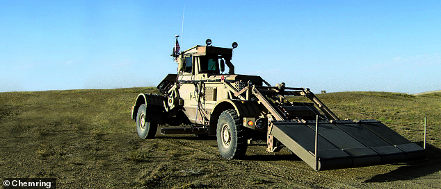 Chemring received a $21million first delivery order for the US Department of Defense's Husky Mounted Detection System (pictured above), which helps to detect landmines