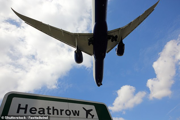 Up in the air:Some 1.4m travelled via Heathrow last month, 6.3m fewer than in August last year
