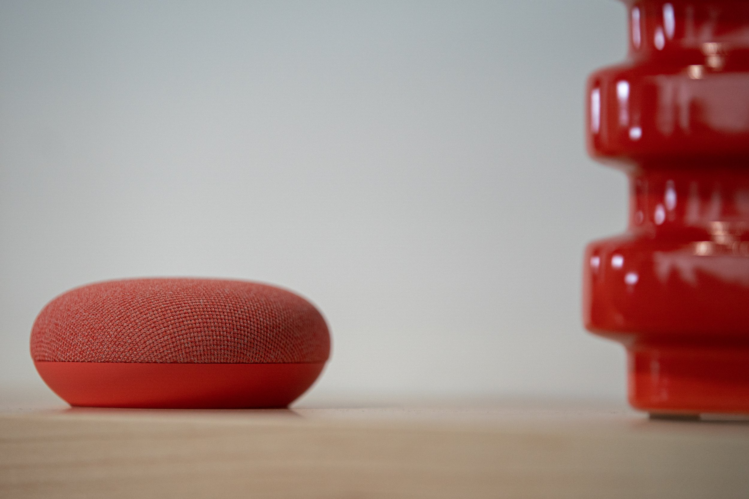 The Google Nest Mini speaker is displayed during the Made by Google event in New York, U.S., on Tuesday, Oct. 15, 2019. Google is going back to basics for its latest laptop: a standard clam-shell design that moves away from the previous foldable, tablet-style Pixelbook. Photographer: Jeenah Moon/Bloomberg via Getty Images