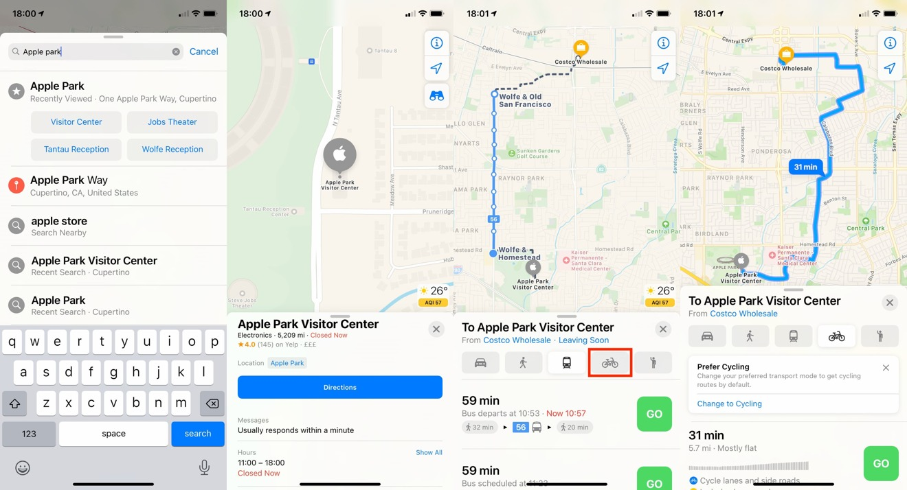 How to set cycling directions in Apple Maps in iOS 14