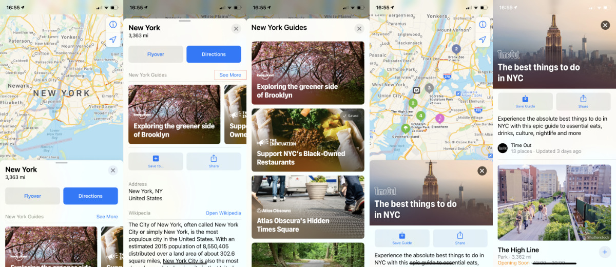 When one or more Guides are available, they show up in the main description. Tap See More to find a complete list for the region you're searching.
