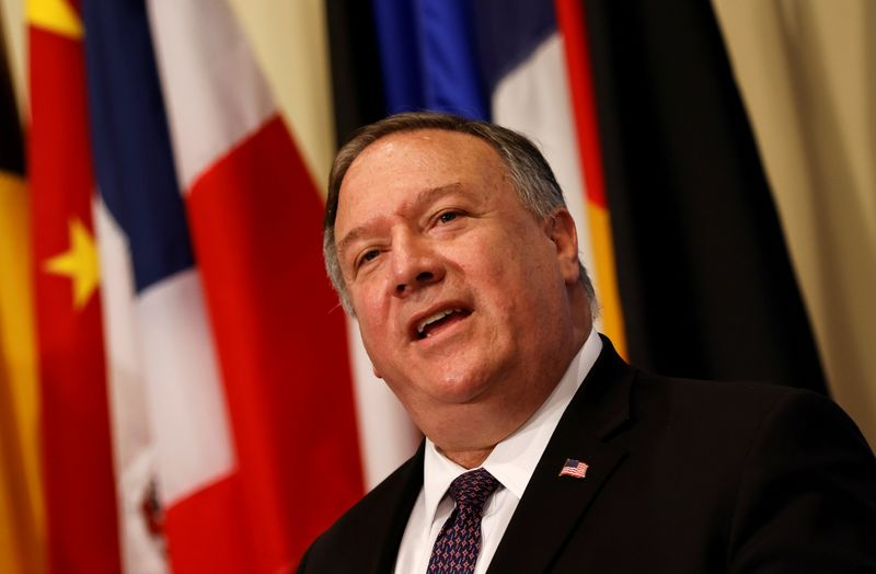 © Reuters. FILE PHOTO: U.S. Secretary of State Pompeo visits United Nations to submit complaint to Security Council calling for restoration of sanctions against Iran at U.N. headquarters in New York