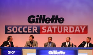 Jeff Stelling with (left to right) Matt Le Tissier, Paul Merson, Phil Thompson and Charlie Nicholas in 2012.