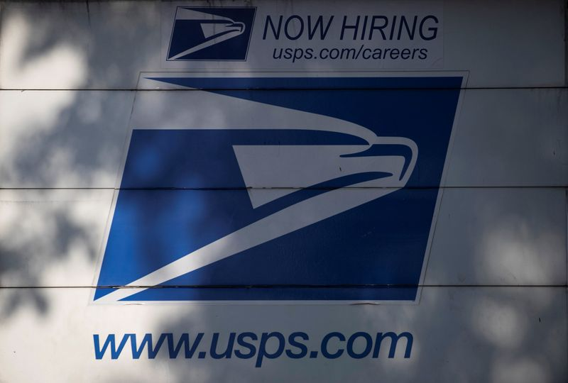 © Reuters. The logo on the back of a United States Postal Service (USPS) truck is pictured in Pasadena