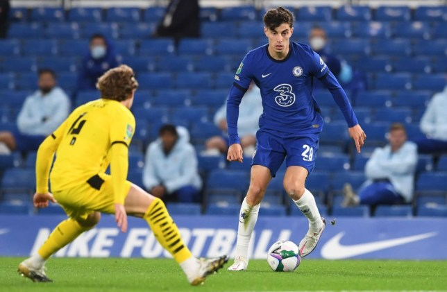 Chelsea's German midfielder Kai Havertz (R) vies for the ball with Barnsley's English midfielder Callum Styles during the English League Cup third round football match between Chelsea and Barnsley at Stamford Bridge in London on September 23, 2020.