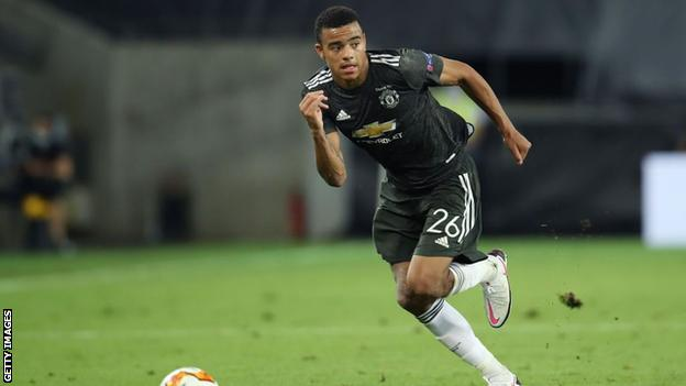 Mason Greenwood playing in Manchester United's Europa League semi-final against Sevilla in August