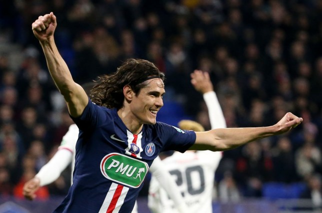Edinson Cavani of PSG celebrates his goal but the goal was cancelled during the French Cup semifinal match between Olympique Lyonnais (OL) and Paris Saint-Germain (PSG) at Groupama Stadium on March 4, 2020 in Decines near Lyon, France.