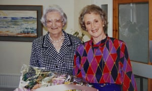 Mary Baines celebrating her 25th anniversary at St Christopher's hospice with Dame Cicely Saunders, left, in 2017.