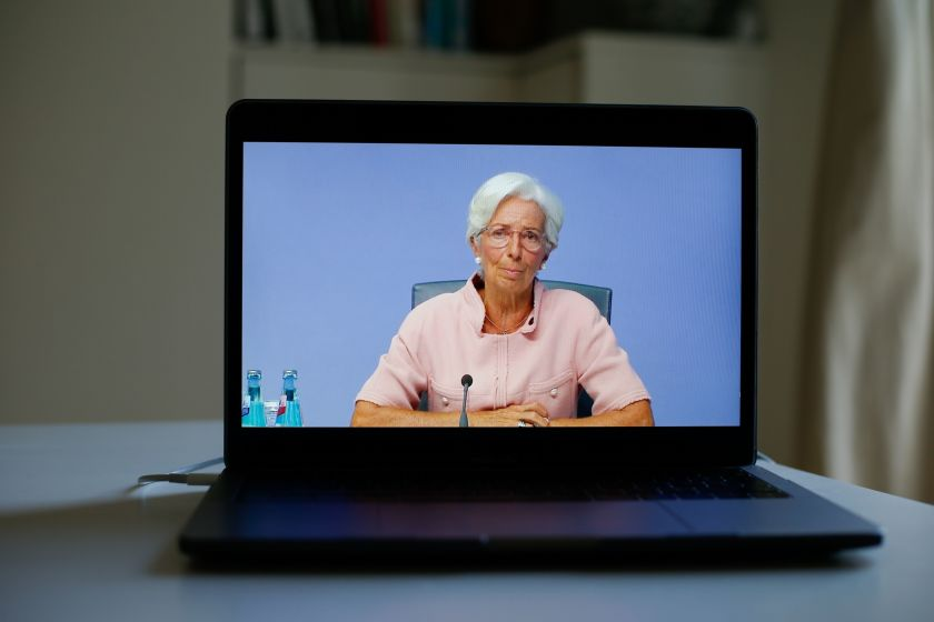 A laptop displays Christine Lagarde, president of the European Central Bank (ECB), during a live stream video