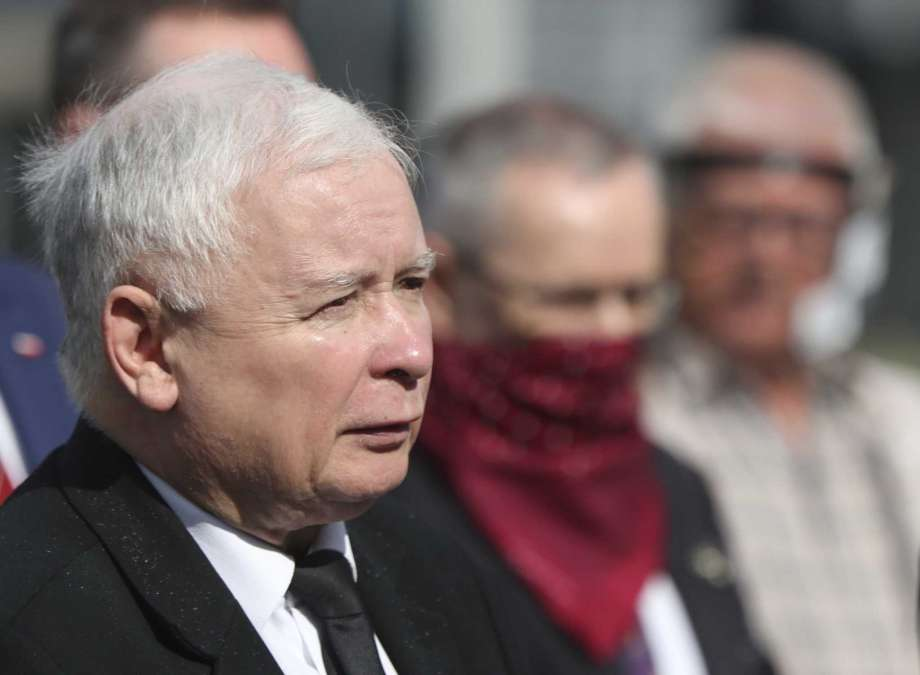 FILE - In this July 10, 2020 file photo, Poland's ruling party leader Jaroslaw Kaczynski, left, attends a police-guarded ceremony in Warsaw, Poland. An official with Poland's conservative governing party said Friday, Sept. 18, 2020, that the the country's right-wing coalition government has collapsed. Photo: Czarek Sokolowski, AP / Copyright 2020 The Associated Press. All rights reserved.