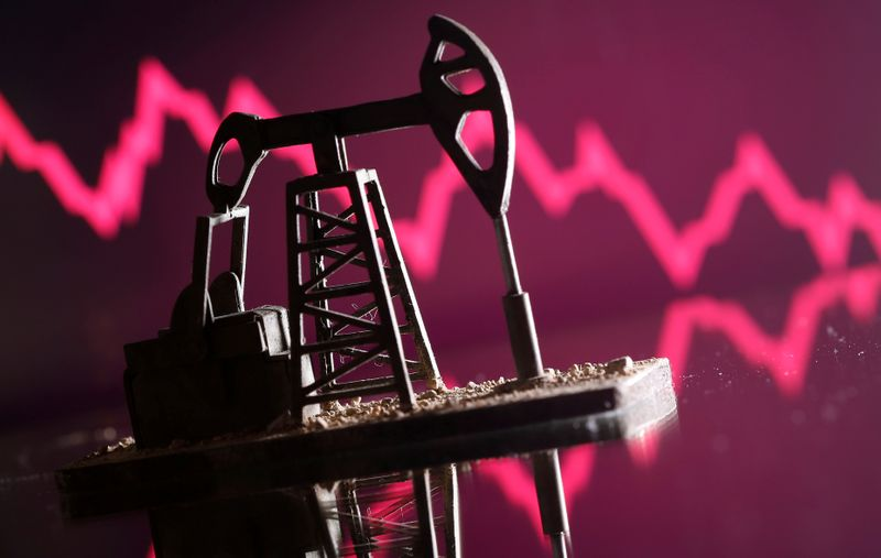 © Reuters. A 3D printed oil pump jack is seen in front of displayed stock graph in this illustration picture