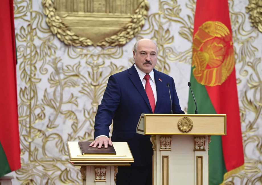 Belarusian President Alexander Lukashenko takes his oath of office during his inauguration ceremony at the Palace of the Independence in Minsk, Belarus, Wednesday, Sept. 23, 2020. Lukashenko of Belarus has assumed his sixth term of office in an inauguration ceremony that wasn't announced in advance. State news agency BelTA reports that the ceremony will take place with several hundred top government official present. (Andrei Stasevich/Pool Photo via AP) Photo: Andrei Stasevich, AP / BelTA