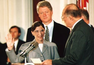 Supreme court chief justice William Rehnquist administers the oath of office to newly-appointed justice Ruth Bader Ginsburg on 10 August 1993.