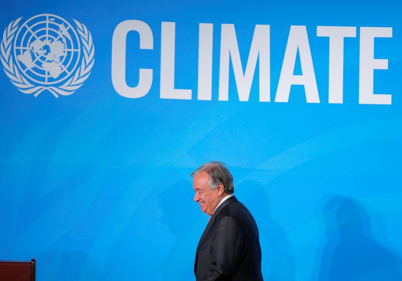 © Reuters. FILE PHOTO: United Nations Secretary General Guterres makes his closing statement at the end of the 2019 United Nations Climate Action Summit at U.N. headquarters in New York City, New York, U.S.
