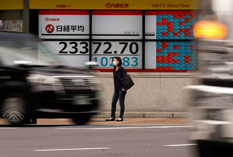 © Reuters. A passerby wearing a protective face mask stands in front of an electronic board showing Japan's Nikkei averageoutside a brokerage, amid the coronavirus disease (COVID-19) outbreak, in Tokyo