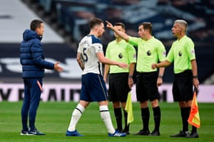 Tottenham players ands coaches are sent away by English referee Peter Bankes.