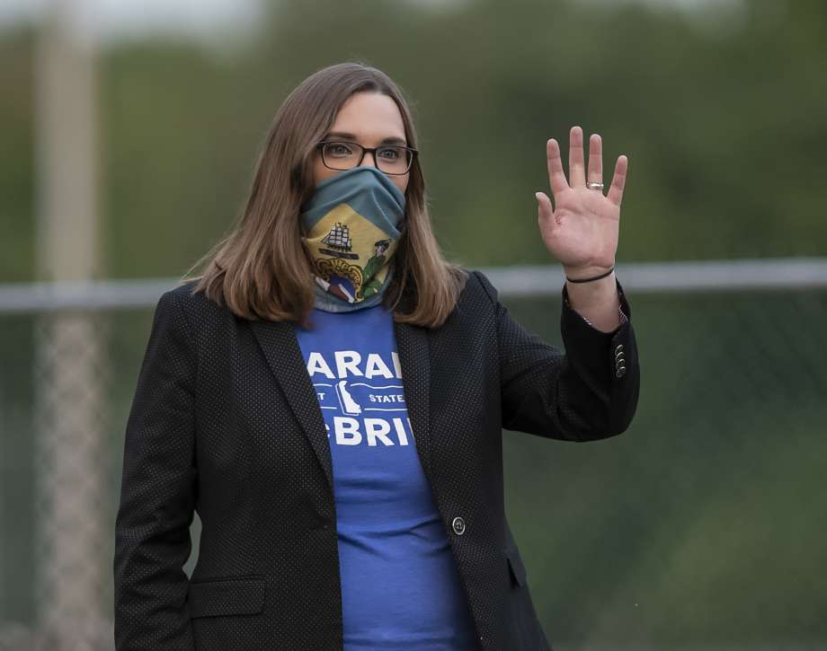 Transgender activist Sarah McBride, who hopes to win a seat in the Delaware Senate, campaigns at the Claymont Boys & Girls Club in Claymont, Del., Tuesday, Sept. 15, 2020. Photo: Jason Minto, AP / Copyright 2020 The Associated Press. All rights reserved.