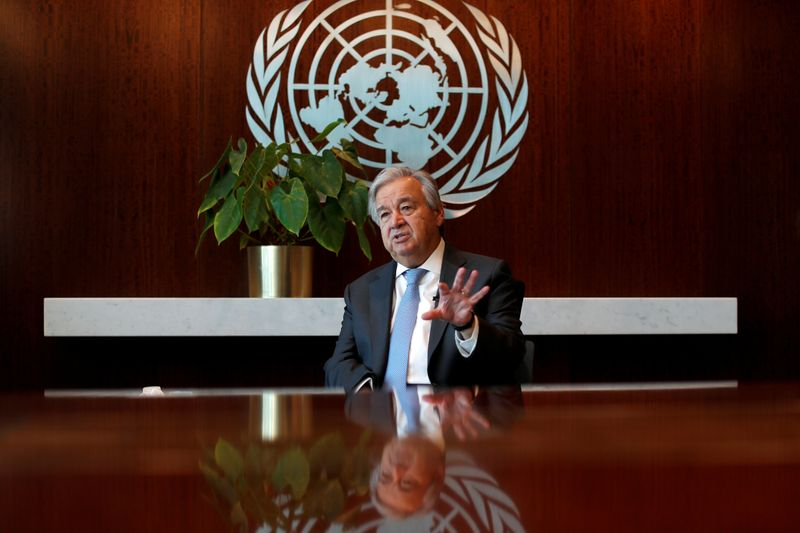 © Reuters. FILE PHOTO: United Nations Secretary-General Antonio Guterres during interview with Reuters at U.N. headquarters in New York