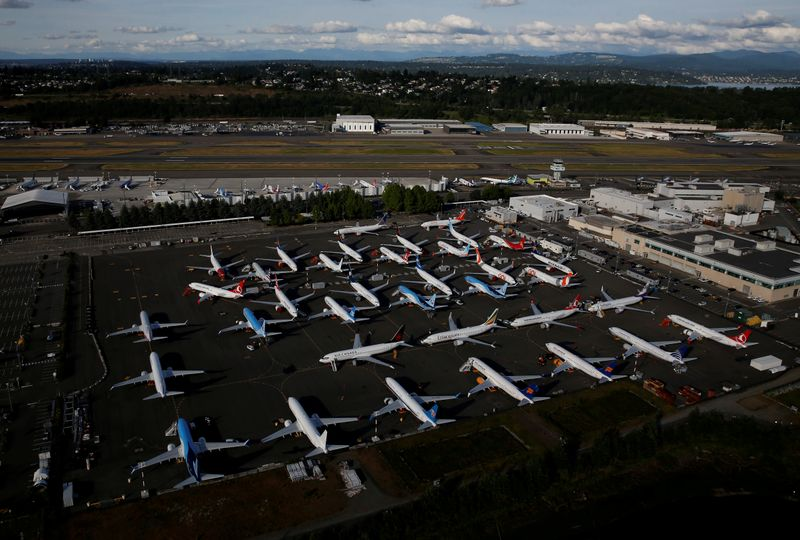 © Reuters. FILE PHOTO: Boeing 737 Max aircraft are parked in a parking lot at Boeing Field in this aerial photo taken over Seattle