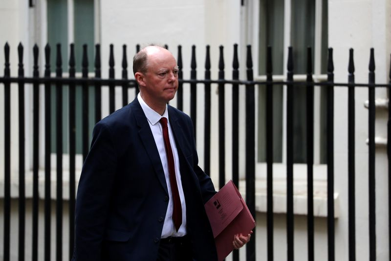 © Reuters. Chief Medical Officer for England Chris Whitty is seen at Downing Street in London
