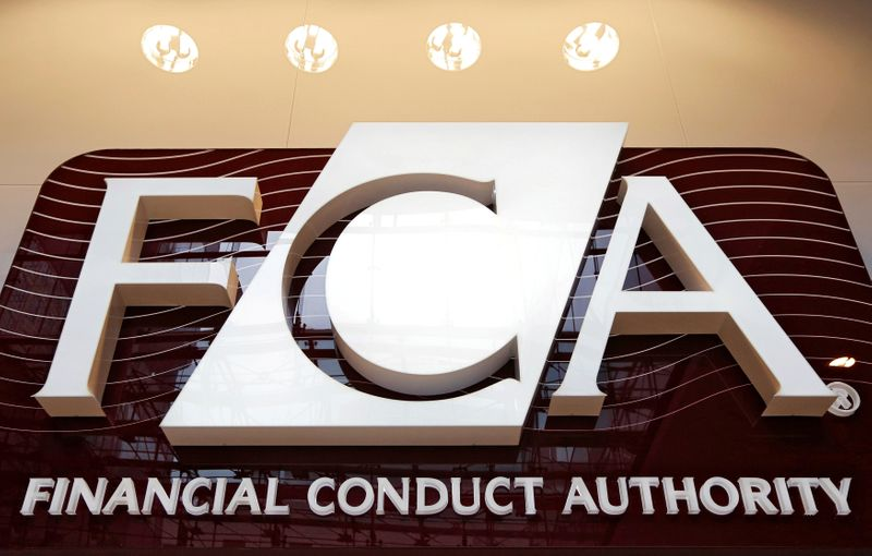 © Reuters. FILE PHOTO: The logo of the new Financial Conduct Authority is seen at the agency's headquarters in the Canary Wharf business district of London