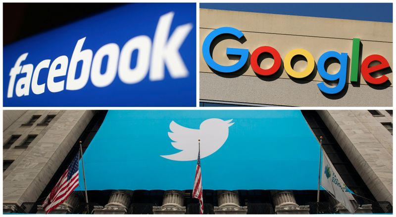 © Reuters. A combination photo from files of Facebook Google and Twitter logos