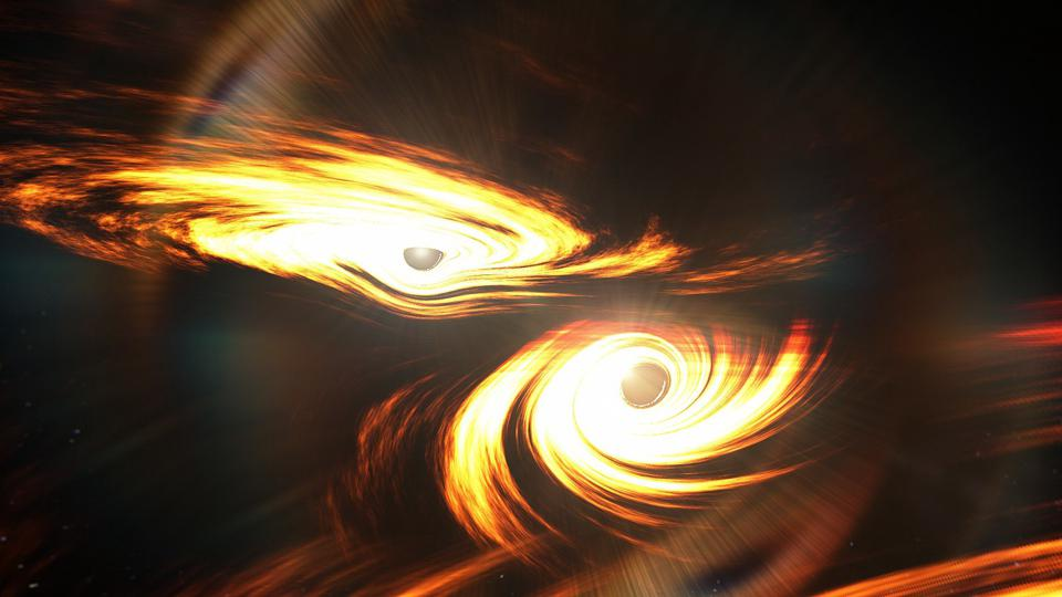 Two black holes, each with accretion disks, are illustrated here just before they collide.