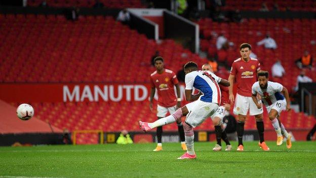 Wilfried Zaha scores from the spot against his former club
