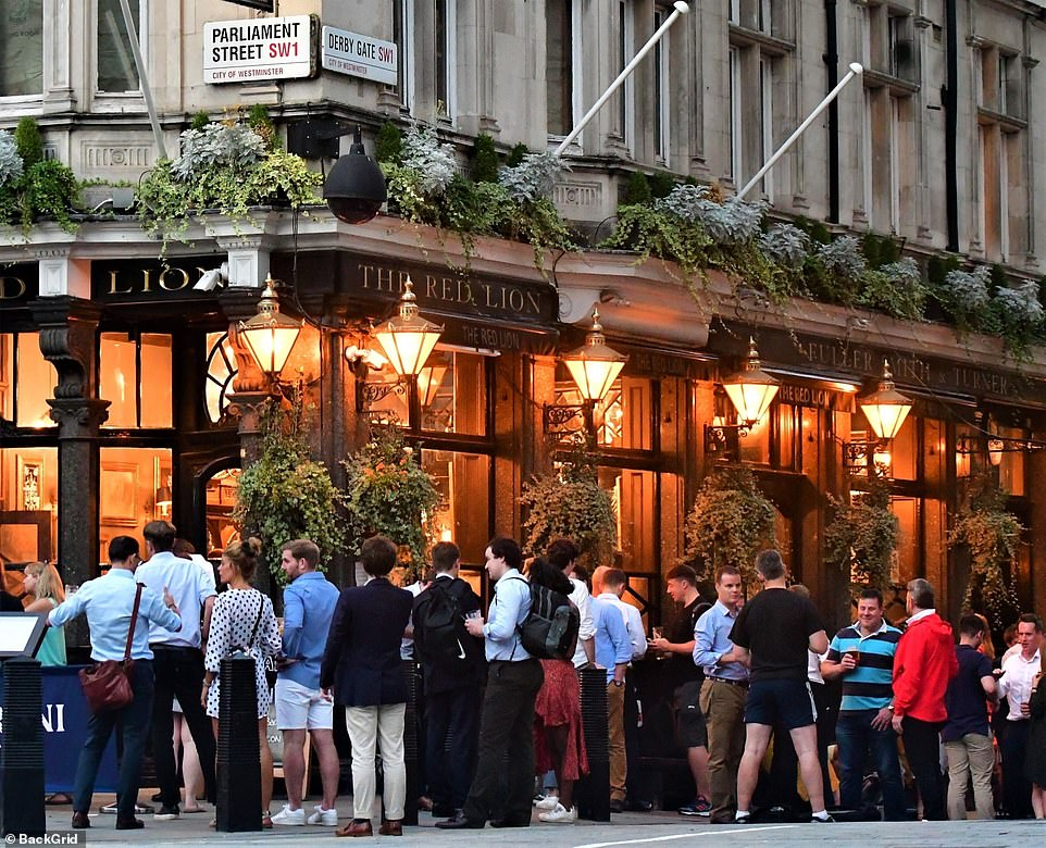 The Red Lion pub in Westminster, just yards from the Houses of Parliament, was surrounded by drinkers last night despite the introduction of the Rule of Six on Monday.