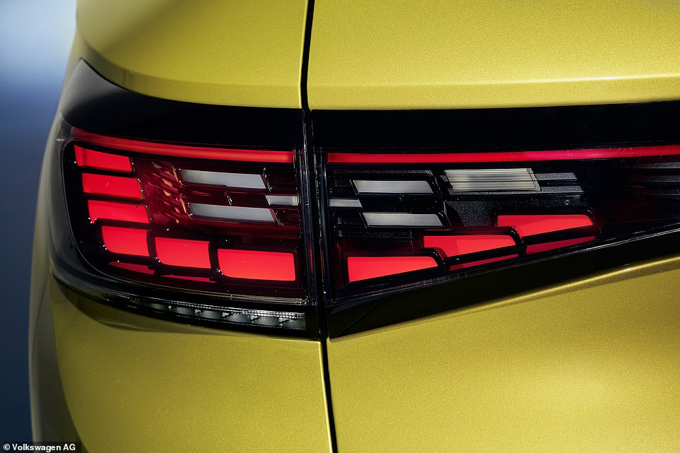 The rear lights have dynamic indicators that beam in the direction the car is about to move. The brake lights are the 'X'-shape cluster in the middle of the LED arrangement