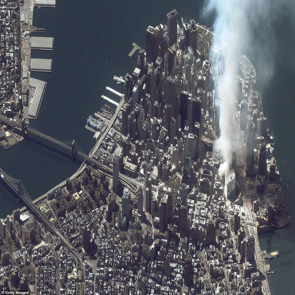 Maxar's IKONOS satellite snapped an image of ground zero on the same day as Landsat, but with its high-resolution capabilities, the image shows intricate details of the Financial District
