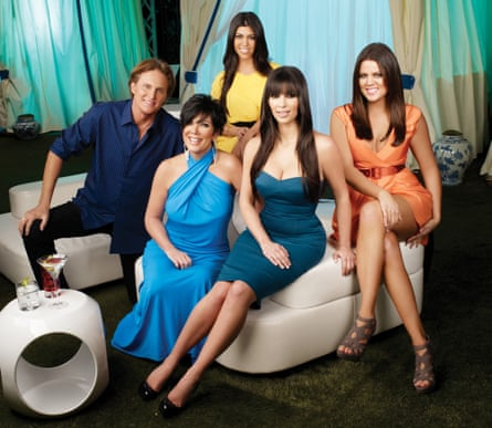 Publicity shot for Keeping Up With the Kardashians, 2007: Bruce Jenner, Kris Jenner, Kourtney Kardashian, Kim Kardashian, Khloe Kardashian.