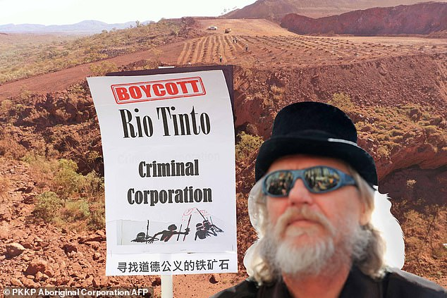 Protest:The FTSE100 firm has been desperately trying to repair its relations with aboriginal communities, shareholders and politicians