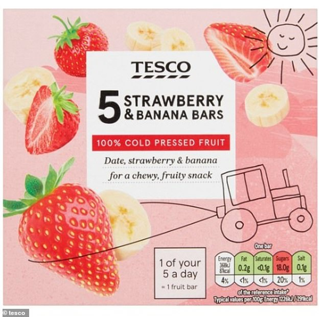 Tesco's fruit bars – apple and sultana, strawberry and banana, and mango and banana – contain at least 4.5 teaspoons of sugar per bar. However, the website says the bars are no longer available