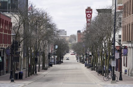State Street in Madison, left mostly empty by the coronavirus pandemic.