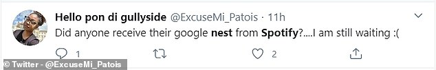 Another Twitter user said they were still waiting to receive their Google Nest